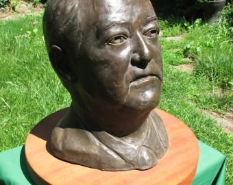 n-Hubert Humphrey bust outdoors